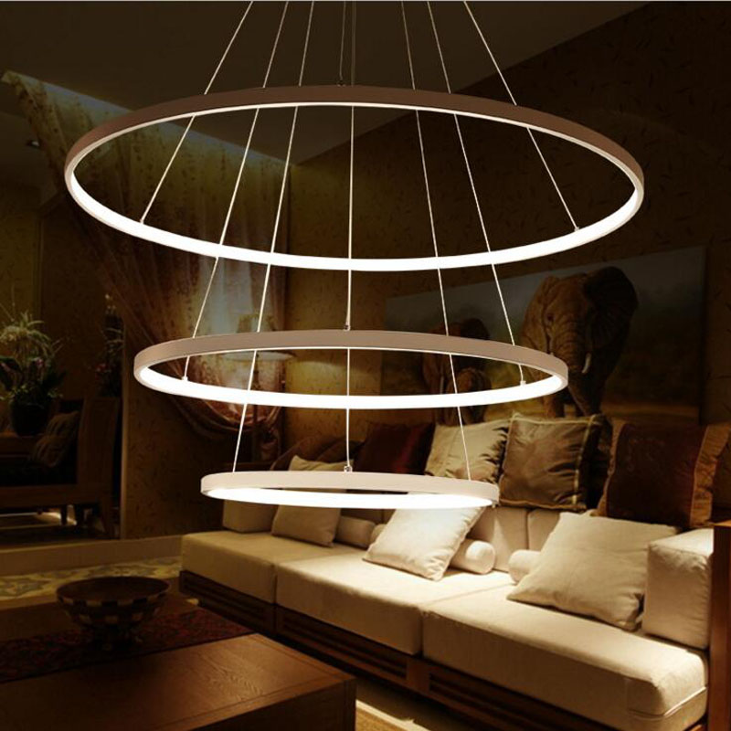 LED circular restaurant chandeliers modern simplicity of the atmosphere three ring living room lamp fashion bedroom study lamp