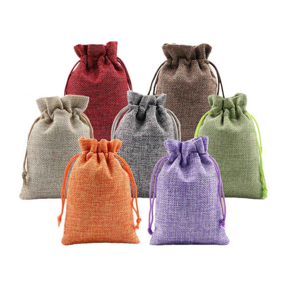 5pcs Multicolor Burlap Bags Sack Gifts Present Bag Jewelry Drawstring Pouch For Wedding Halloween Christmas Baby Shower Party