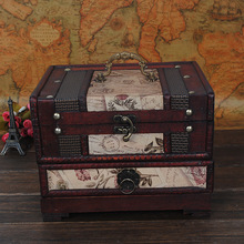 1PC Vintage Wooden Box European Style Jewellery Storage Box Makeup Storage Case For Earrings Ring Necklace