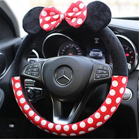 16 Types Car Styling Bow Cute Car Steering Wheel Cover 38CM Cute Cartoon Universal Interior Accessories