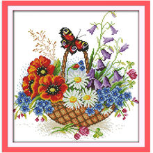 Wholesale Flower Basket And Butterfly Needlework Stitch DIY 11CT 14CT DMC Counted Cross Stitch Kits For Embroidery Cross-stitch(China)