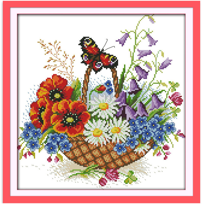 Wholesale Flower Basket And Butterfly Needlework Stitch DIY 11CT 14CT DMC Counted Cross Stitch Kits For Embroidery Cross-stitch