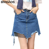 BIVIGAOS 2017 Summer New Fishing Mesh Stitching Denim Skirt Irregular Hole Burr Mini Skirts A Line
