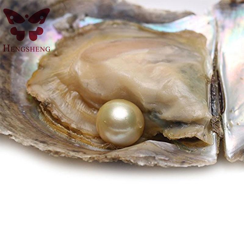 HENGSHENG 1 Pièce D'eau Salée Perle Ronde Oyster 9-10mm Mer Du Sud Or Couleur Perle À L'intérieur comme le Souhaitent