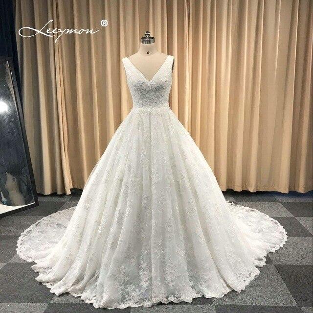 Leeymon Free Shipping 2018 Custom Made Wedding Dress Sexy Lace Beading  V-Neck Wedding Gown Dress Ivory Floor-Length 84b9af52c525