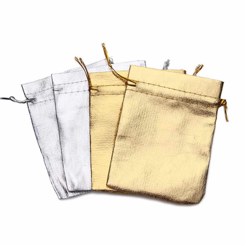 100 pcs כסף מתכתי רדיד בד אורגנזה Drawable שקיות חתונה קישוט מתנות קרפט סוכריות אריזת שקיות