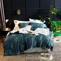 2018 Simple Dark Green Leaves Bed Cover Soft Egyptian Cotton Duvet Cover Set Queen King Bedlinens Sheet Pillowcases