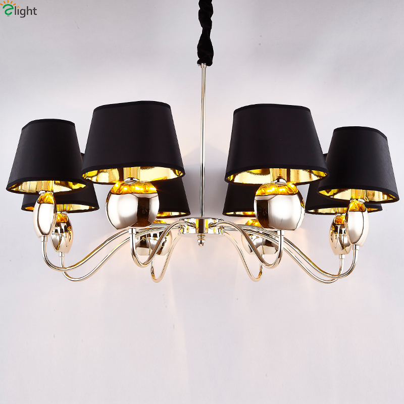 Modern Chrome/Gold Led Chandeliers Lighting Black Fabric Living Room Led Pendant Chandelier Lights Dining Room Led Hanging LightModern Chrome/Gold Led Chandeliers Lighting Black Fabric Living Room Led Pendant Chandelier Lights Dining Room Led Hanging Light