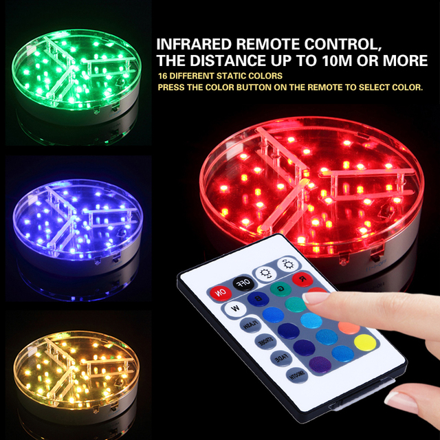 Rushed New Arrival Sale Multi-colors 6inch Led Base Light Battery Power Remote Control Lights for Wedding Decoration Centerpiece
