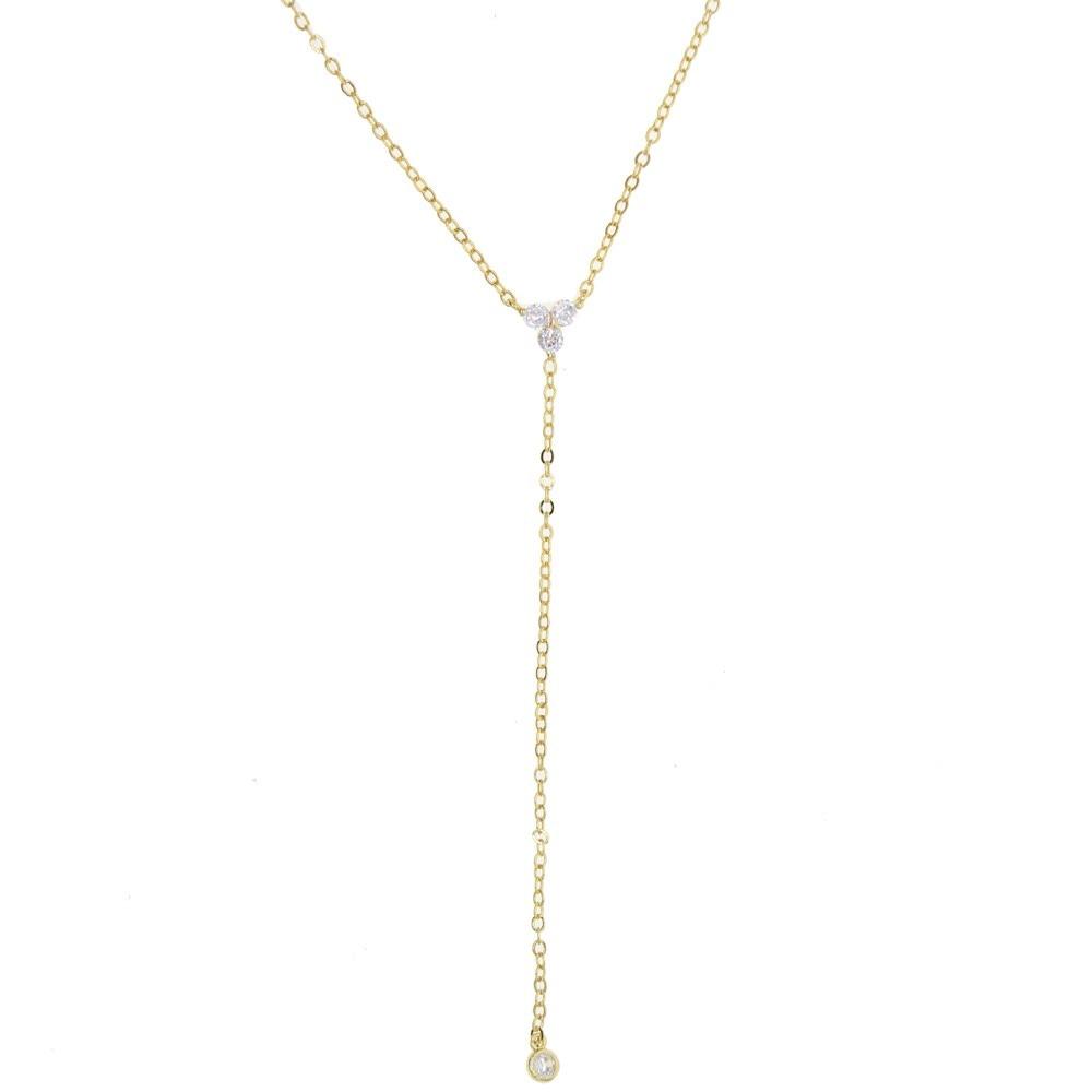 Cz Sparking Crystal Lariat Necklace