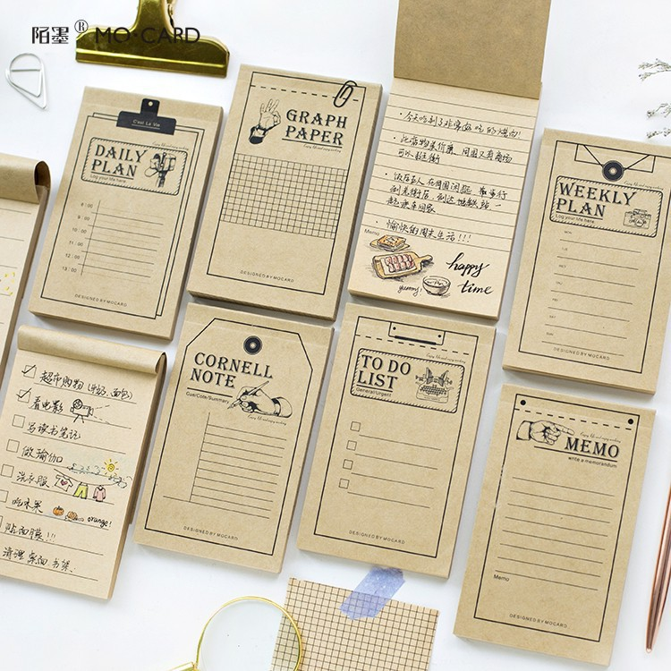 Creative Retro Study&Work Plan Kraft Paper Sticky Notes Post It Memo Pad Kawaii Stationery Office Accessory School Supplies 1pc lot cute rabbit design memo pad office accessories memos sticky notes school stationery post it supplies tt 2766