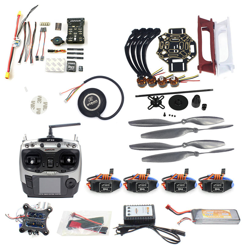 DIY FPV Drone Quadcopter 4-axle Aircraft Kit F450 450 Frame PXI PX4 Flight Control 920KV Motor GPS AT9S Transmitter f2s flight control with m8n gps t plug xt60 galvanometer for fpv rc fixed wing aircraft