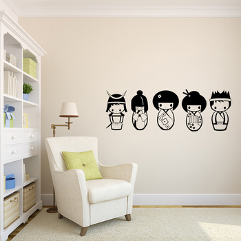 Cute Kokeshi doll DIY Vinyl Wall Stickers Removable Wall Decals Wallpaper Eco-friendly Wall Decor for Kids Room Nursery Poster