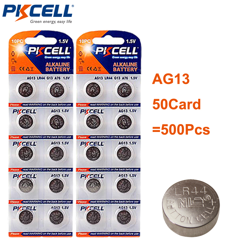 500Pcs/50card Button Battery LR44 1.5V AG13 AG 13 SR44 L1154 357 A76 Button Coin Cell Batteries PKCELL-in Button Cell Batteries from Consumer Electronics    1
