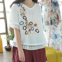 lace patchwork rustic romantic floral embroidery short sleeve summer shirt top mori girl
