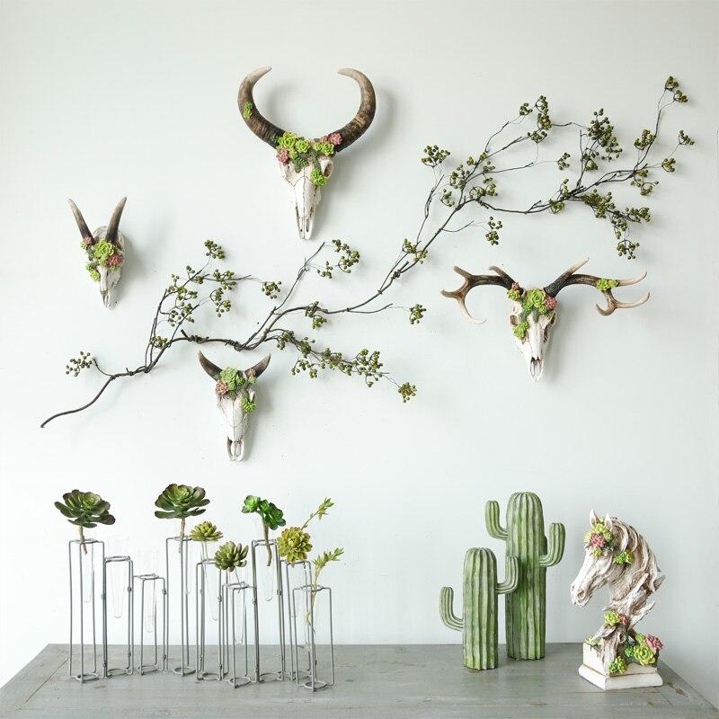 미국 복고풍 벽 장식 크리 에이 티브 사슴 두개골 장식 벽 장식 절묘한 선물 벽 장식-에서피규어 & 미니어처부터 홈 & 가든 의  그룹 2