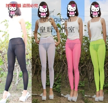Ultra-thin transparent tight trousers skinny pants slim hip sexy legging milk silk perspectivity bling optical viscose