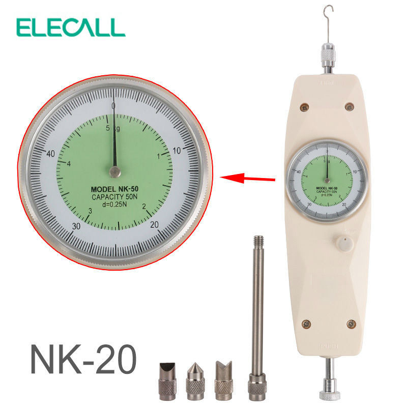 ELECALL NK-20 Analog Dynamometer Force Measuring Instruments Thrust Tester Analog Push Pull Force Gauge Tester Meter nlb 300 analog push and pull force guage meter tester