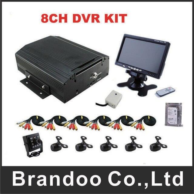 8CH HDD 960 H Автобус DVR комплекты с 6 камер и дюймов 7 дюймов монитор для автобуса, поезд, фургон, грузовик используется