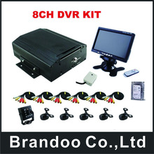 8CH HDD 960H BUS DVR kits with 6 cameras and 7 inch monitor for bus, train,van,truck used