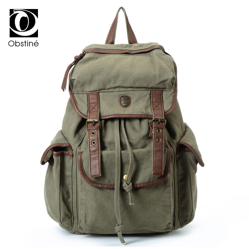 Large Capacity Women Backpack Strings Canvas Backpacks Female Drawstring Laptop Backpack Travel Bags Army Green Daypack Woman