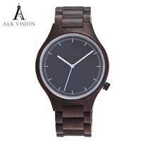2017 fashion wood watch men quartz wooden watch male casual bracelet wrist watch men top brand luxury clock ALK Vision