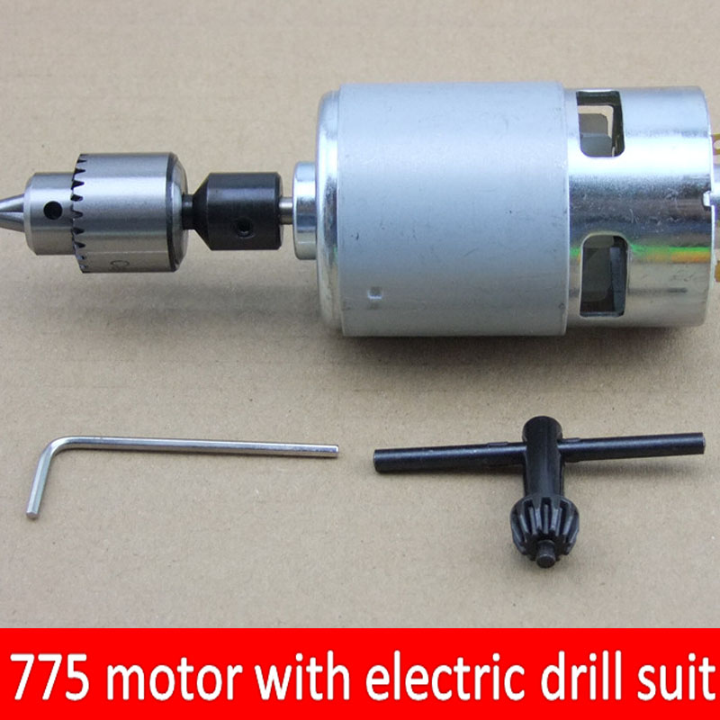 12v 24v 775 Motor Large Torque Electric Drill, Electric Grinding 8000rpm Motor With Ball Bearing And Cooling Fan