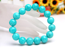 Natural Mozambique Green Amazonite Gemstone Women Men Stretch 14mm Healing Stone Round Beads Bracelet Fashion Jewelry AAAA
