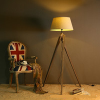 American Retro Vintage Loft Wood Fabric Tripod Led E27 Floor Lamp For Study Bedroom Living Room Deco H 149/155cm 2278