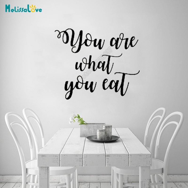 You Are What You Eat Kitchen Dining Room Decal Quote Sticker Removable Vinyl Wall Stickers Typography Wall Art B356