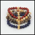 10pcs mix color gold skull head 8mm beads bracelet natural lapis lazuli/blood Jasper stone beads fashion men's women's bracelet