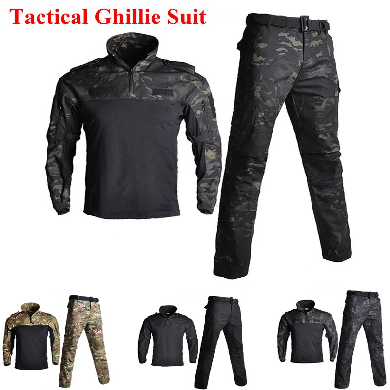 Tactical FG Long sleeved Frog Suit Men Hunting Camouflage Clothes Shirt Pants US Military Army Combat