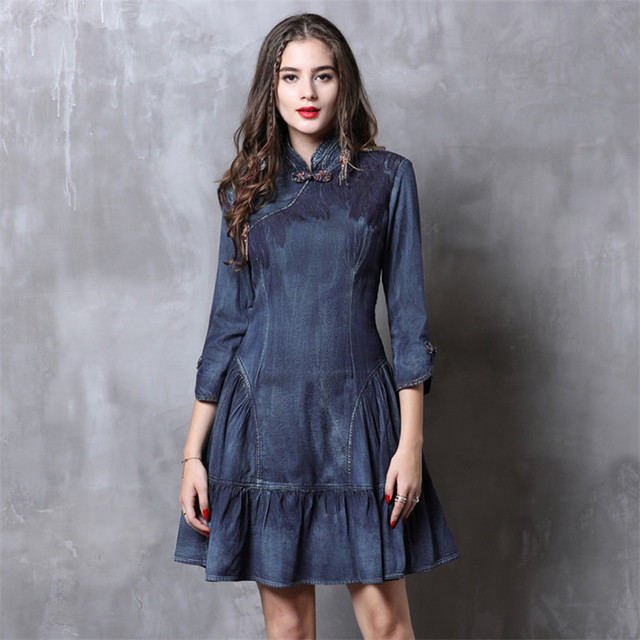 Cheongsam Dress Women 2019 Vintage Spring New Denim Dresses Chinoiserie Ruffles Mandarin Collar 3/4 Sleeve China Style Dress 2