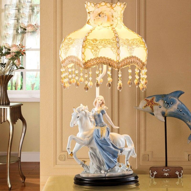 Horse Riding the girl Table Lamp Fabric Lampshade LED Lamparas de mesa Ceramic Desk Light E27 Lighting Deco Luminaria de mesa
