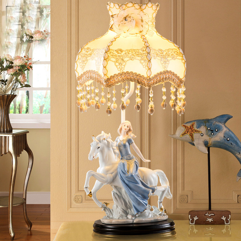 Horse Riding the girl Table Lamp Fabric Lampshade LED Lamparas de mesa Ceramic Desk Light E27 Lighting Deco Luminaria de mesa trazos modern table lamp color iron lampshade led lamparas de mesa metal desk light e27 hotel lighting deco luminaria de mesa