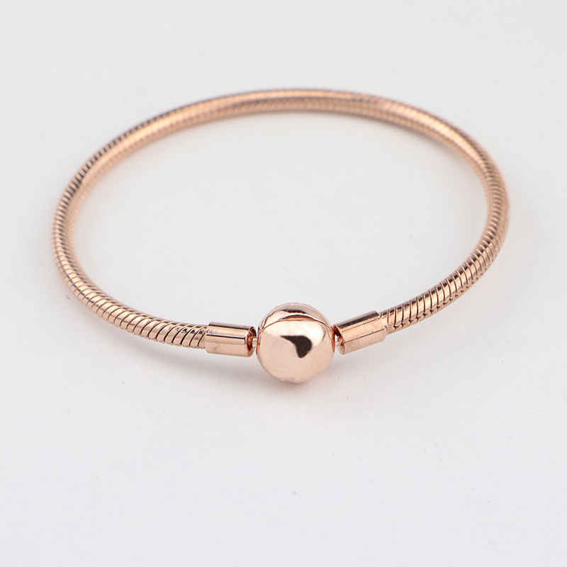 100% 925 Sterling Silver Basic Chain Rose Gold Snake Clasp Bracelets Fit Charms Beads & Pendants For Women BB022 925 sterling silver snake chain basic bracelets charms heart clip blue pink purple crystal clasp fit women diy bracelets