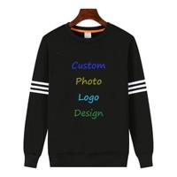 Solid Black Oversized Loose Women Men Man Male Sweatshirt Custom Logo Photo Design Print Unique Hoodies