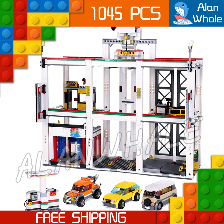 1045pcs New City Garage Cars Vehicle Maintenance Construction 02073 FIgure Building Blocks Children Toys Compatible With LegoING-in Blocks from Toys & Hobbies