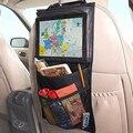 Negro de fibra de poliéster + pvc impermeable niños de viaje ipad accesorios interiores del coche colgando bolsa de estiba poner en orden