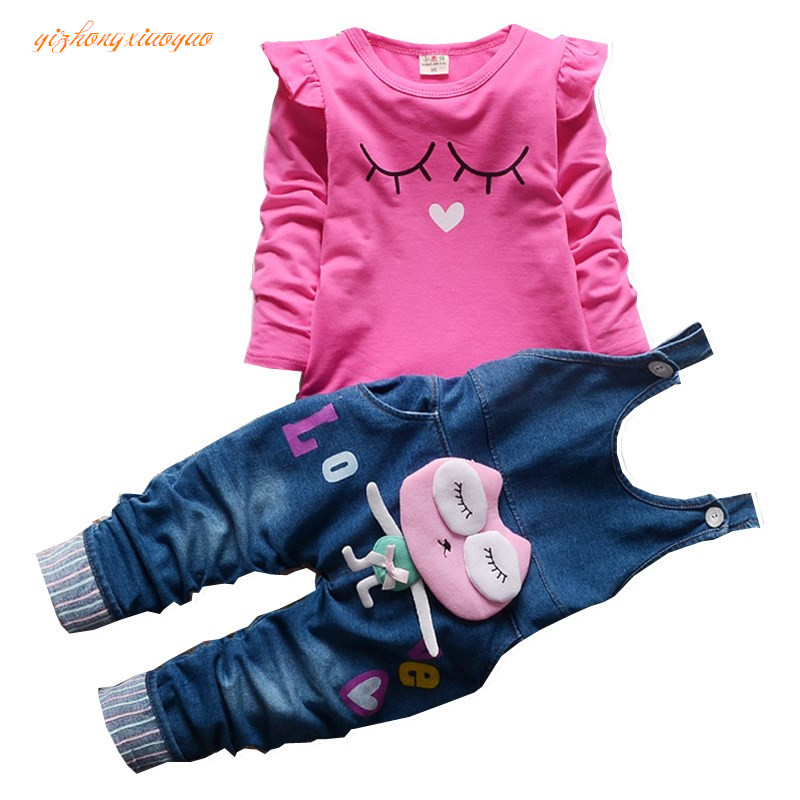 цена на 2016 New Hot Spring Baby Girls Clothing Set Children Denim overalls jeans pants + Blouse Full Sleeve Twinset Kids Clothes Set