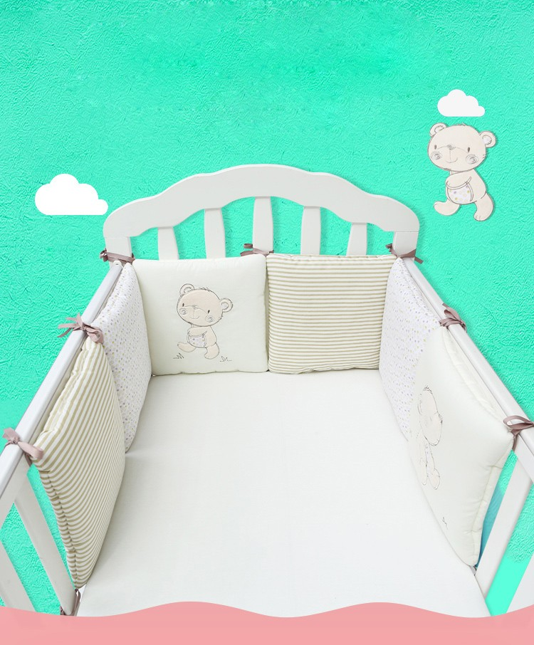 Baby-Bumpers-in-The-Crib-Baby-Bumper-Bed-Protector-Cot-Protection-Breathable-Baby-Bed-Cushion-30cmx30cmx6pcs-for-Infant-Baby-0