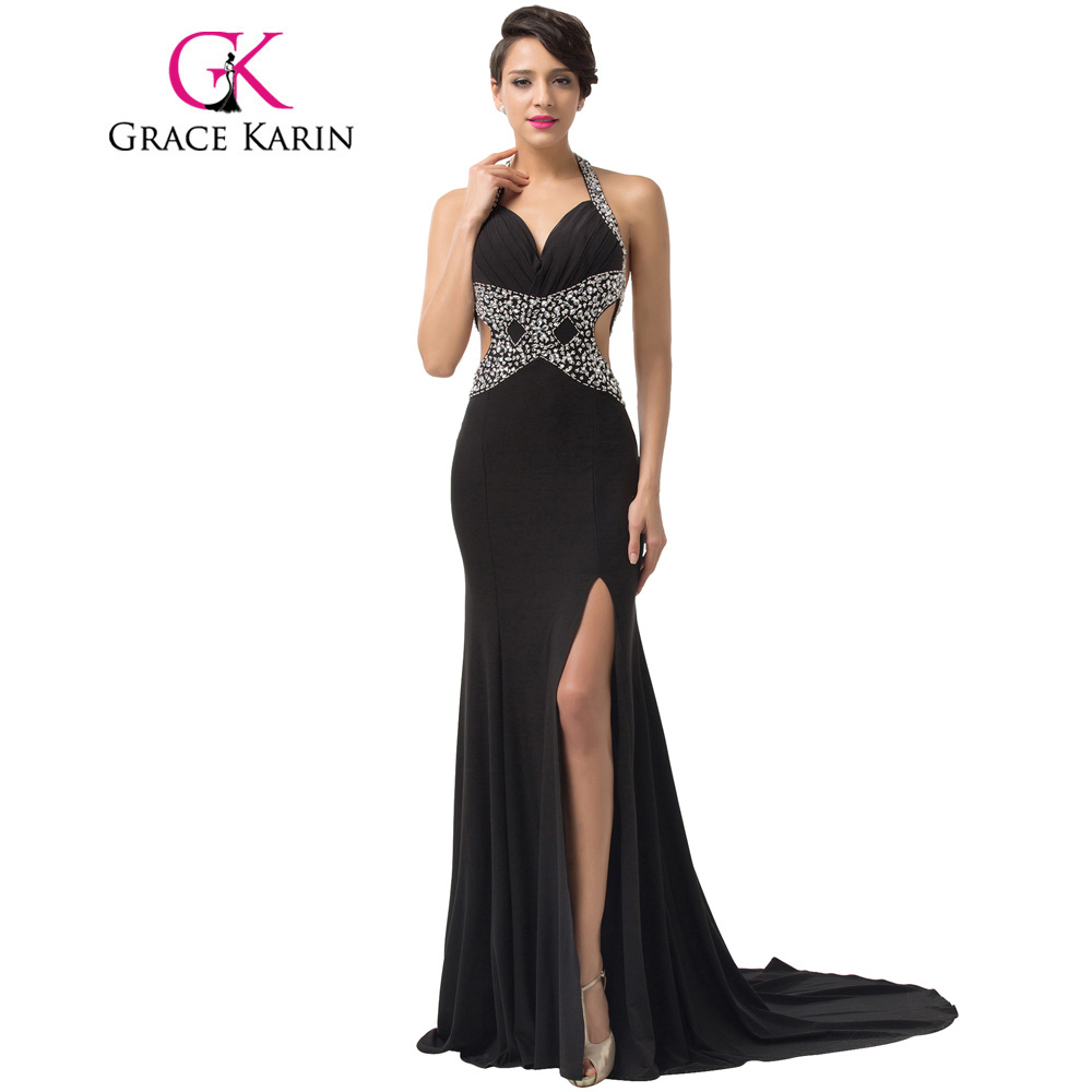 Designer Formal Dresses: Grace Karin Sexy Long Halter Backless Split Front Formal