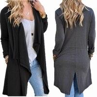 Women Long Sleeve Cardigans Split Basic Jackets Lady Fashion Irregular Sweatshirts American Apparel Clothing Spring Autumn