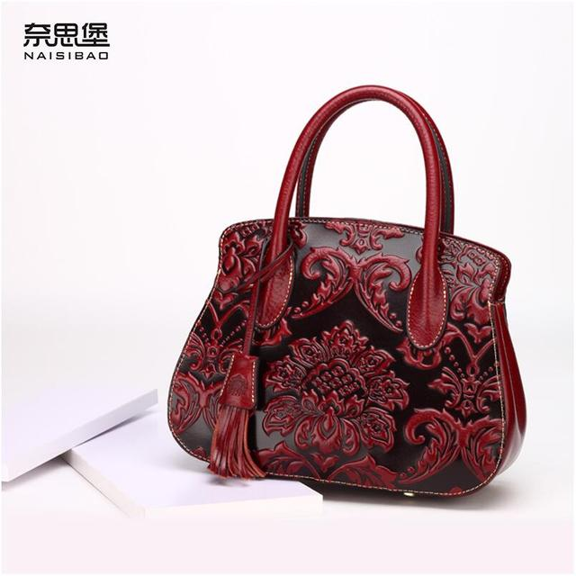 Famous Brand Top Quality Cow Leather Women Bag Retro Handbag China Wind Embossment Shoulder Messenger