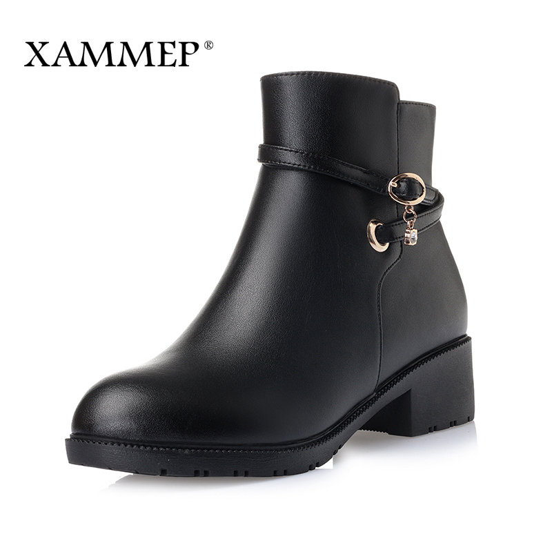 Women Winter Shoes Women Genuine Leather Natural Wool Boots Brand Women Shoes High Quality Ankle Boots