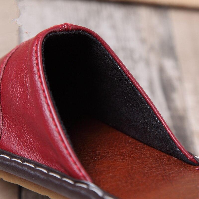 Купить летние домашние кожаные тапочки мужские и женские скользкие