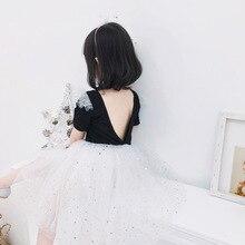 ANKRT 19 Summer New Childrens Back Big V Dress Star Mesh Princess Skirt.12M-6T