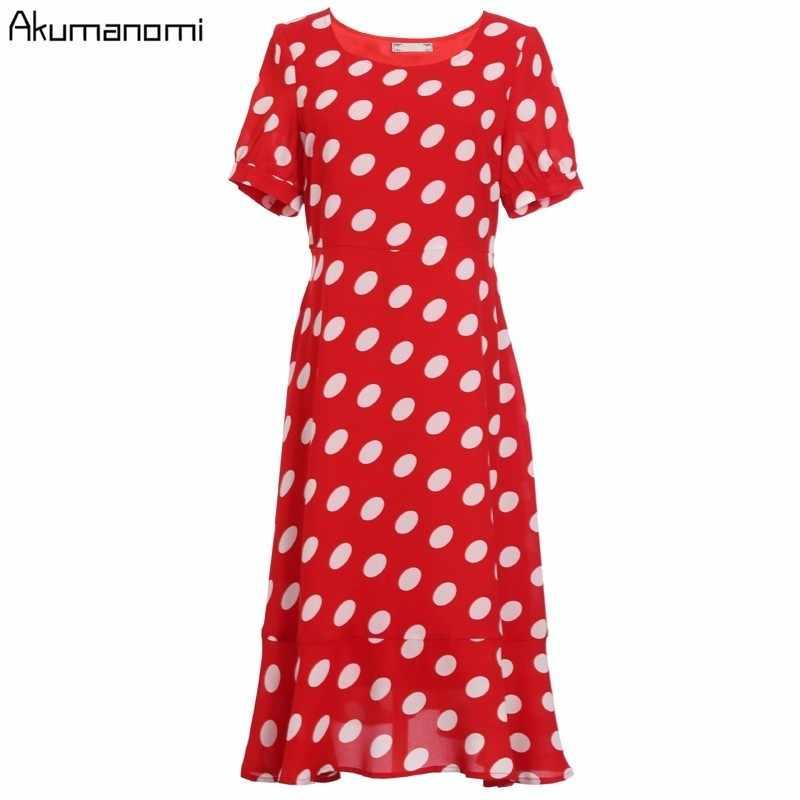 夏のドレスの女性 2019 プラスサイズレッド O ネック半袖フリル水玉ドレスカードパック Vestidos verano にローブフェムセクシー