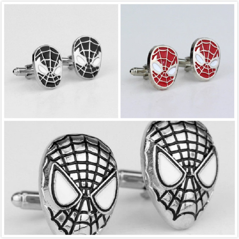 Movie Red/Black <font><b>Spider-Man</b></font> Mask <font><b>Cufflinks</b></font> High Quality <font><b>Silver</b></font> Plated Jewelry For Wedding Party Shirt Accessory