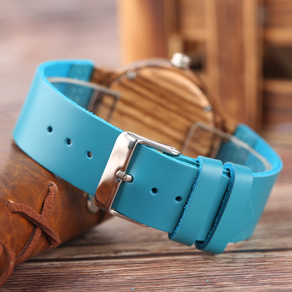 Fashion Blue Wooden Bamboo Quartz-watch Natural Wood Wristwatch Genuine Leather Creative Xmas Gift for Men Women Reloj de madera 2017 2018 (24)
